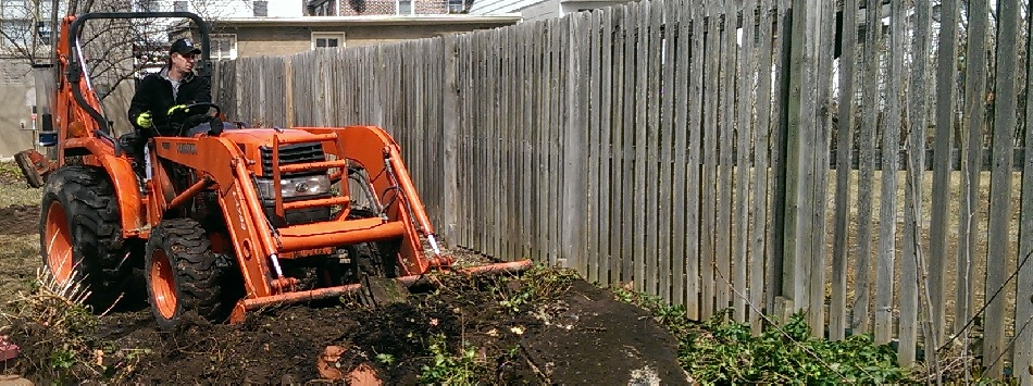 Brians Landscaping Spring Yard Clean Up with Backhoe